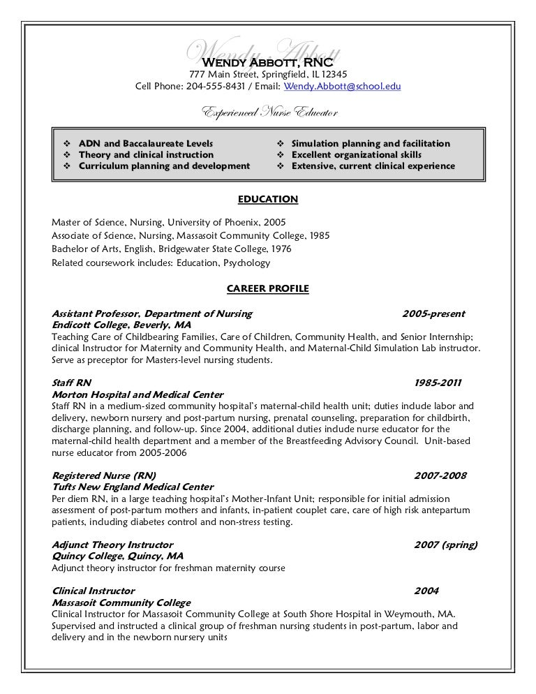 resume after - Resume Samples For Nursing Students