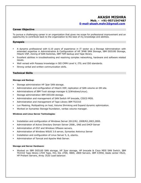 resume akash storage admin - Emc Storage Engineer Sample Resume