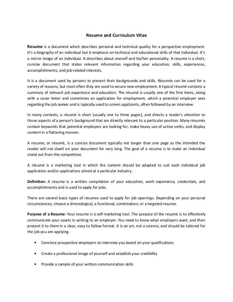 resume and curriculum vitae