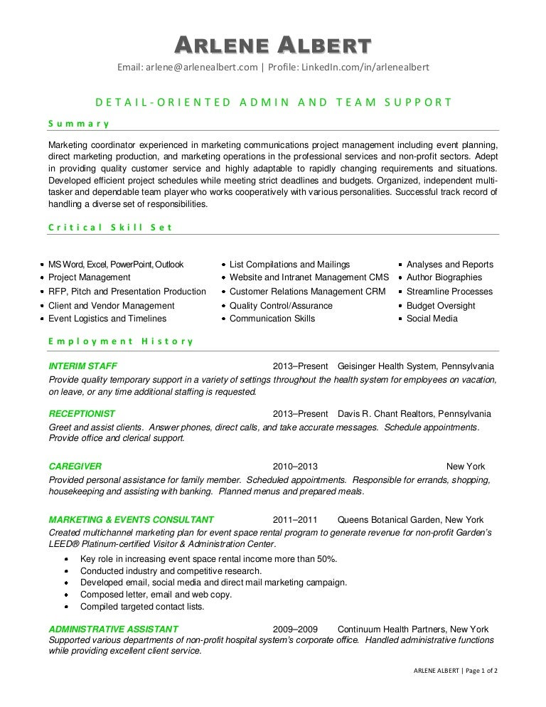 marketing communications events coordinator resume - Staffing Coordinator Resume