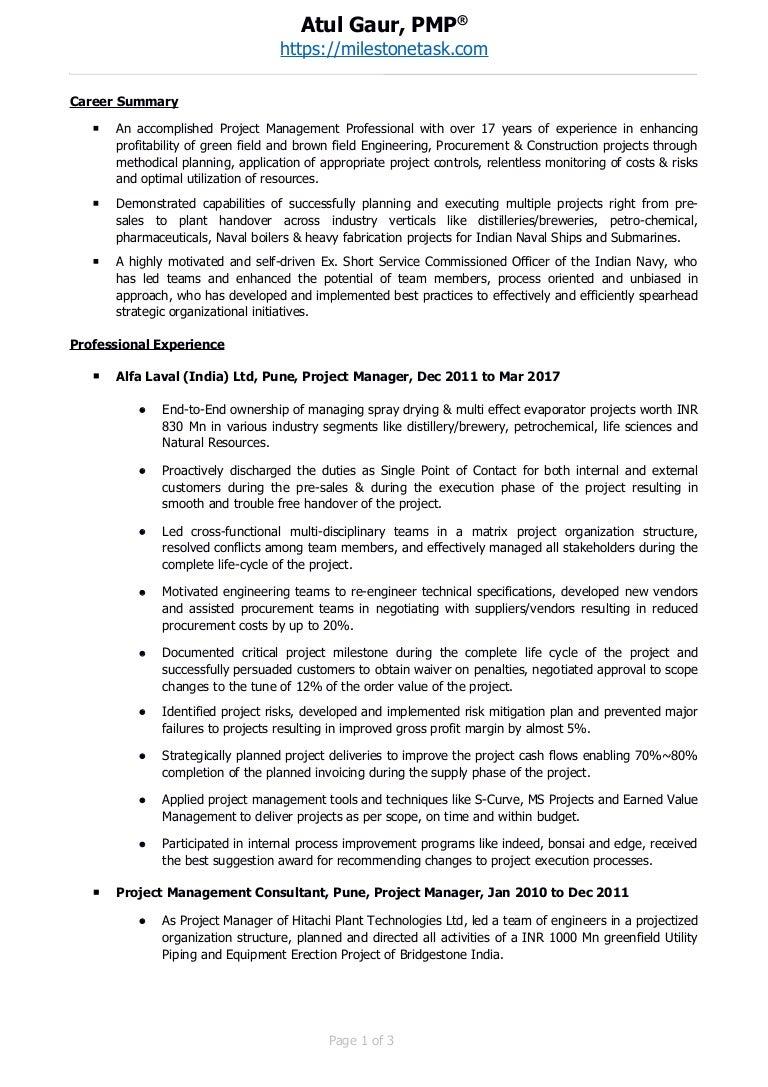 project management professional pmp resume atul gaur - Project Management Professional Resume
