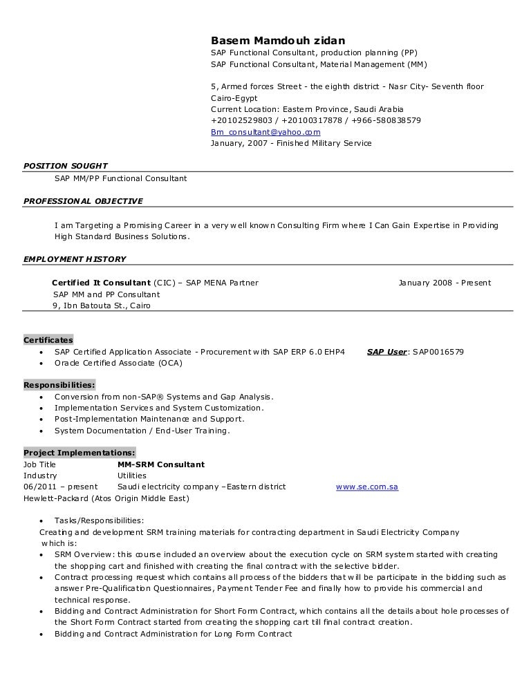 Sap Mm Consultant Resume  Sap Mm Resume