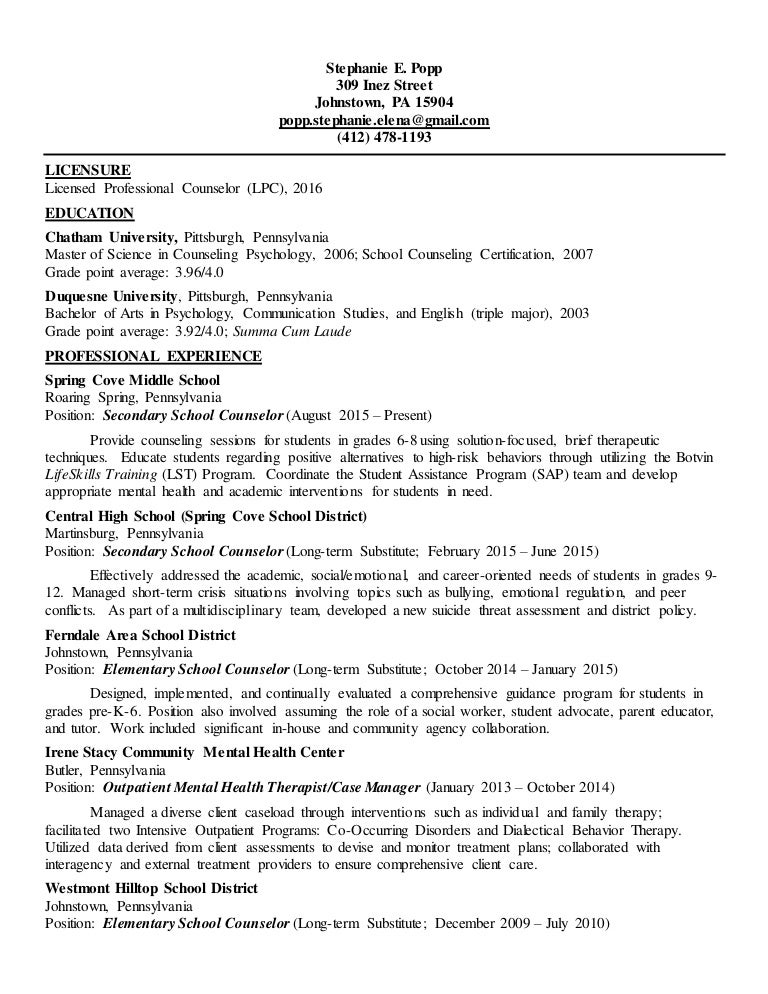 Licensed Professional Counselor Resume Sample Vatozozdevelopment