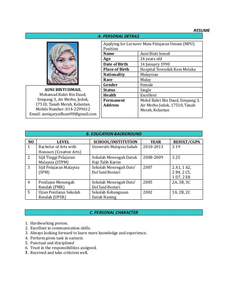 Resume Contoh English Latter