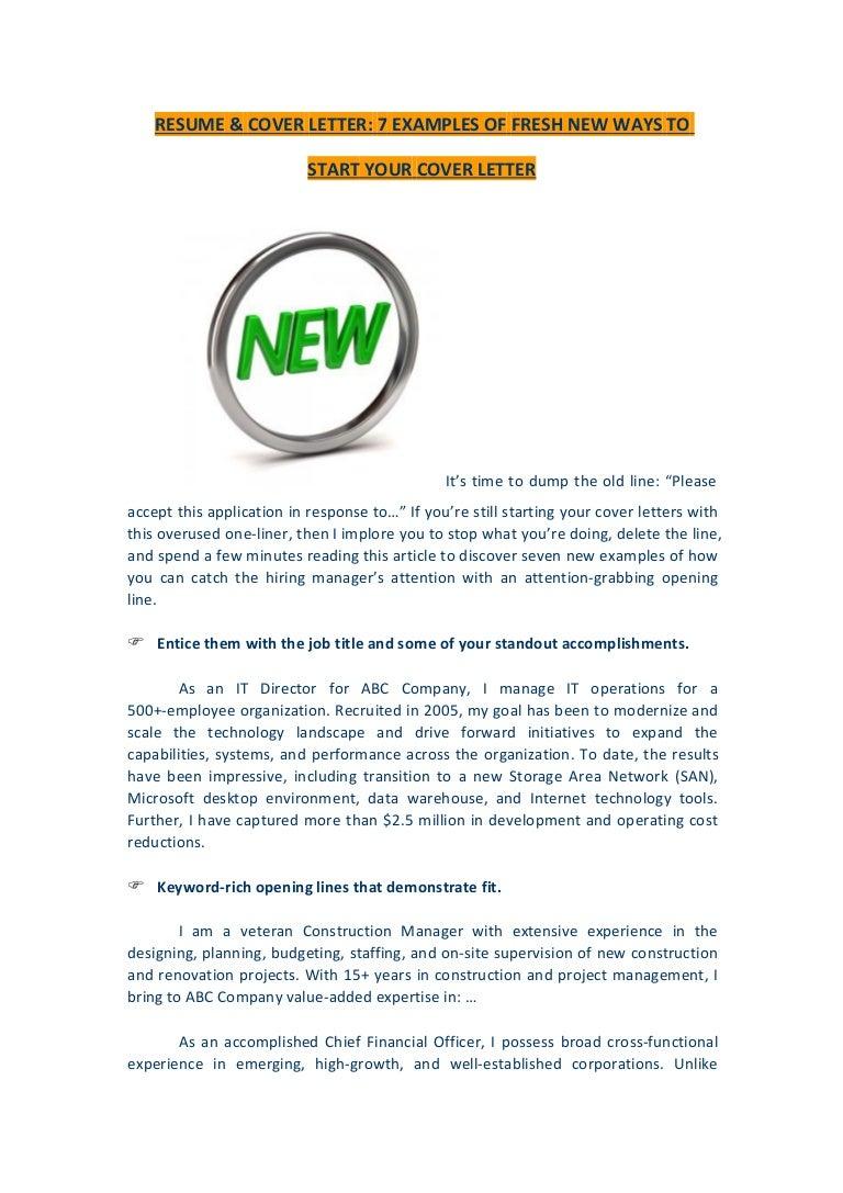 how start resume cover letter resume amp cover letter examples fresh new ways start your how do you start a cover letter