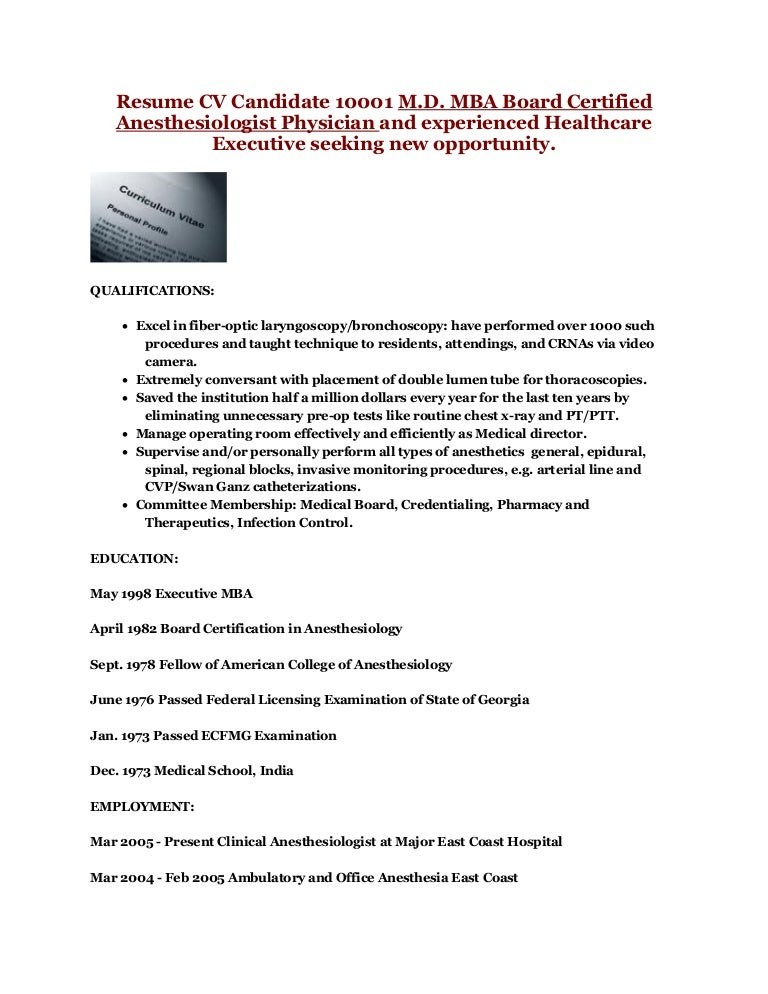 Anesthesiologist Resume Vosvetenet – Nurse Anesthetist Resume