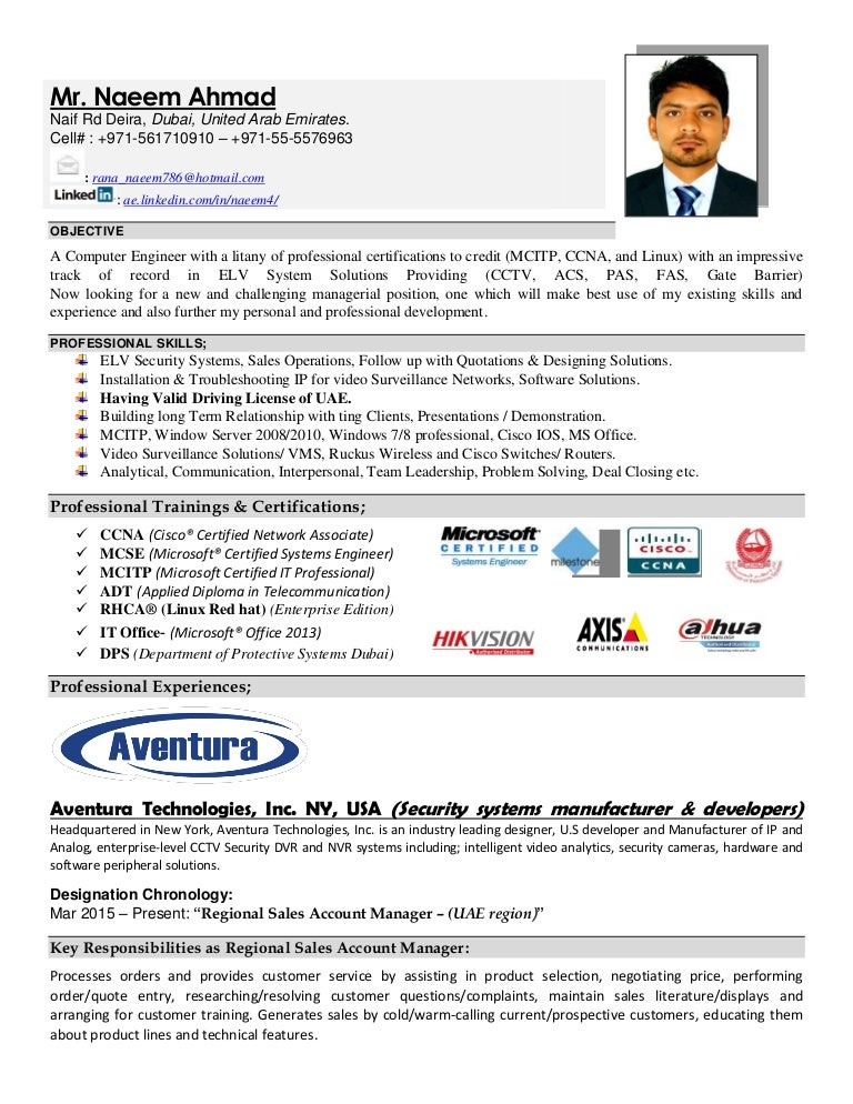 resume  cv  naeem ahmad elv engineer