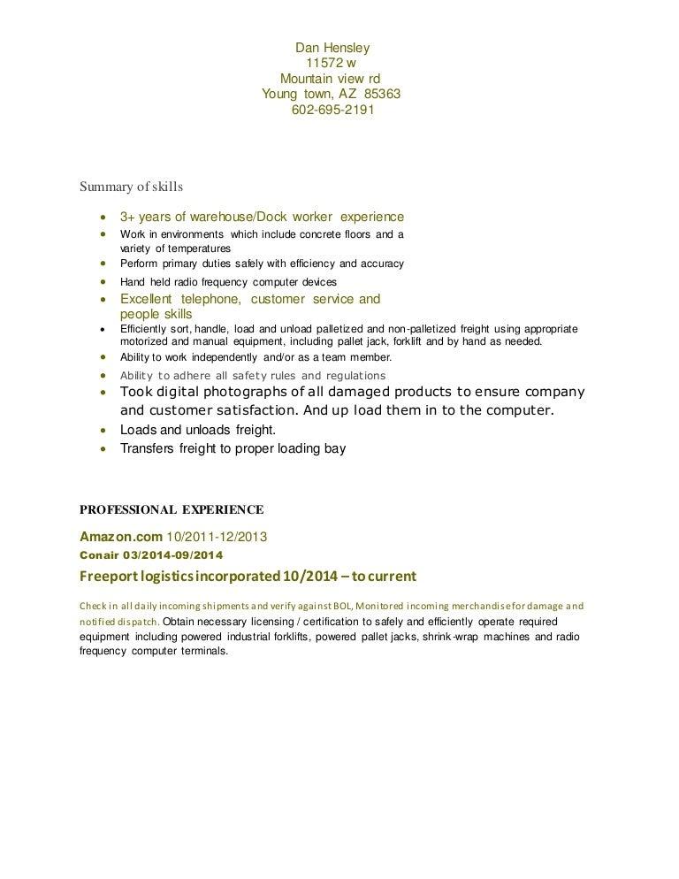 fedex dock worker sample resume hardware support sample resume ...