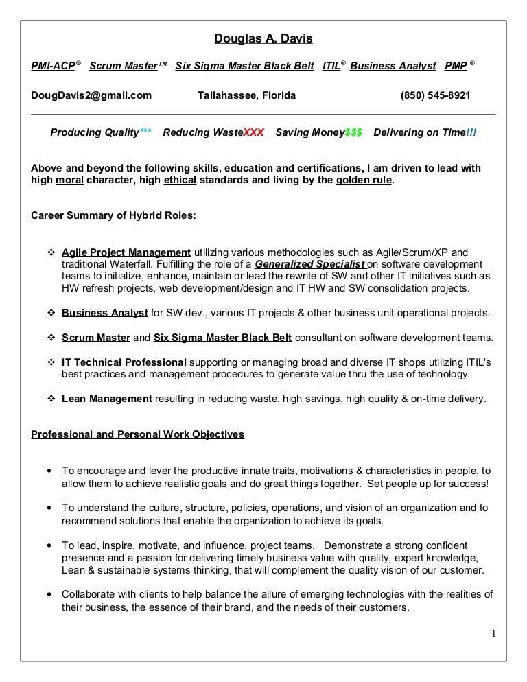 Resume Doug Davis   PmiAcp Pmp Scrum Master Six Sigma Ma