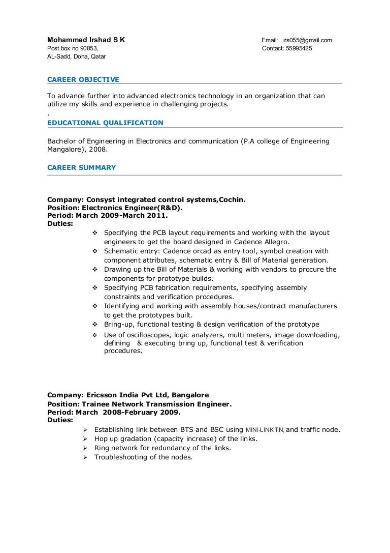 Sample Resume Format For Electronics Engineer