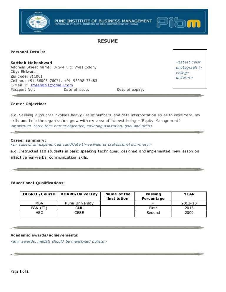 pibm resume format