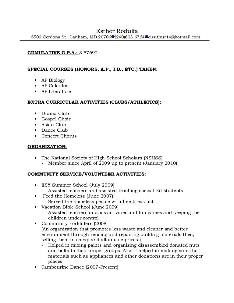resume format for recommendations - Extra Curricular Activities In Resume Sample
