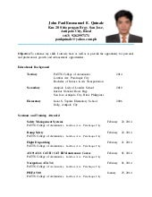 my resume final - Sample Resume For Aircraft Maintenance Technician Ojt