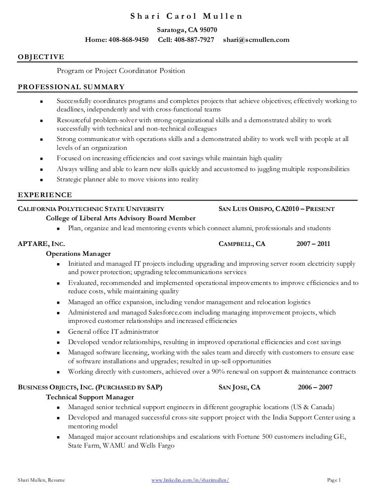 projects coordinator resume
