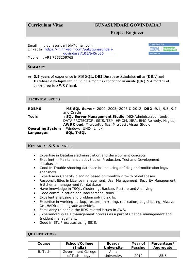 sql server dba resume a good dba resume database administrator ...
