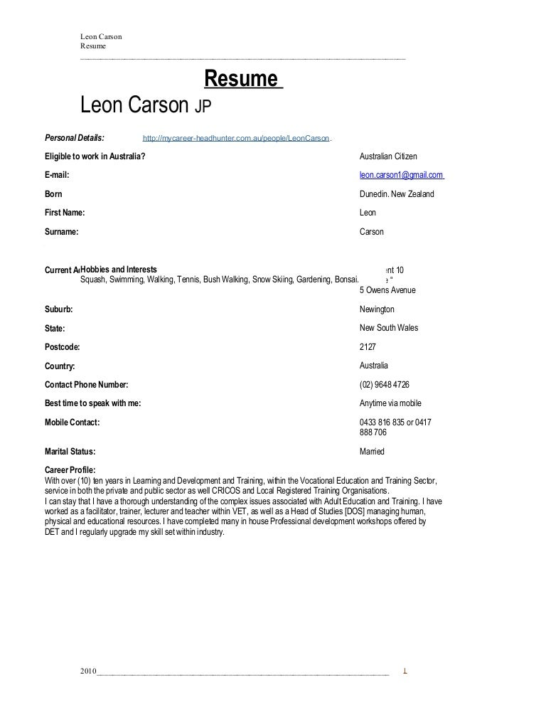 Resume L .C .Carson