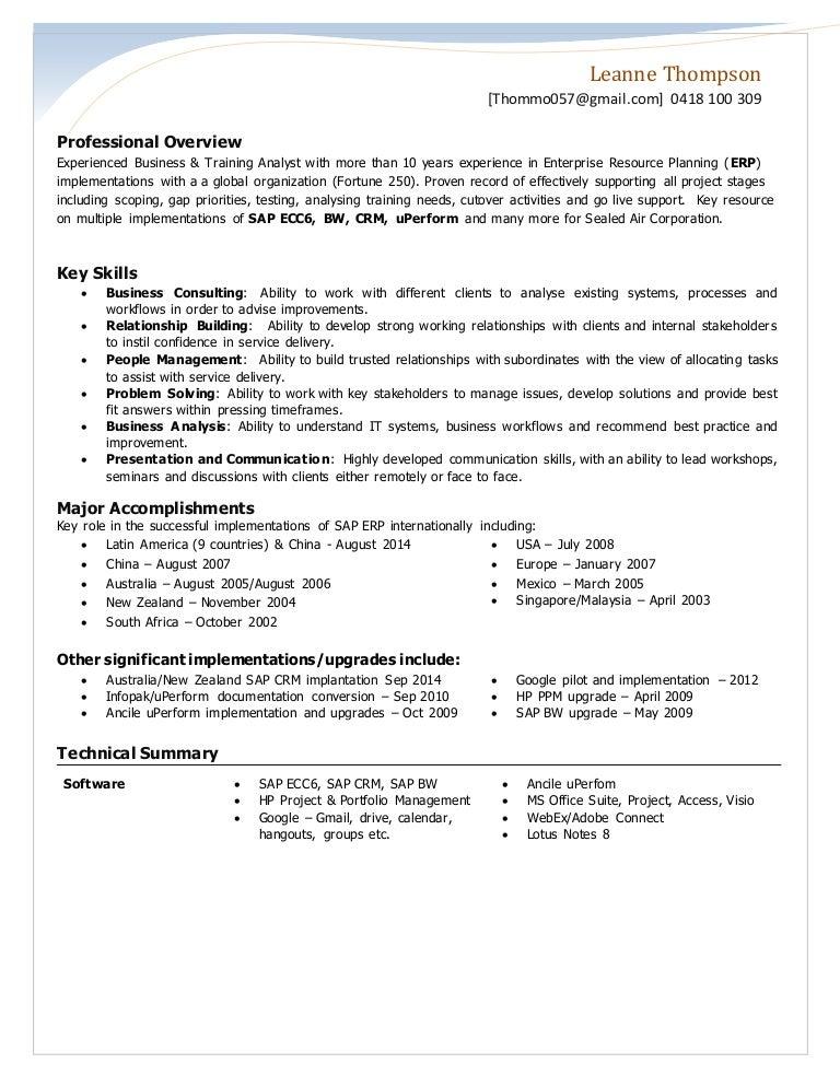 resume leanne thompson 2015