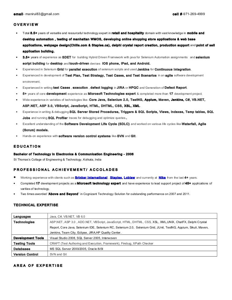 agile methodology testing resume sample template resume service slideshare