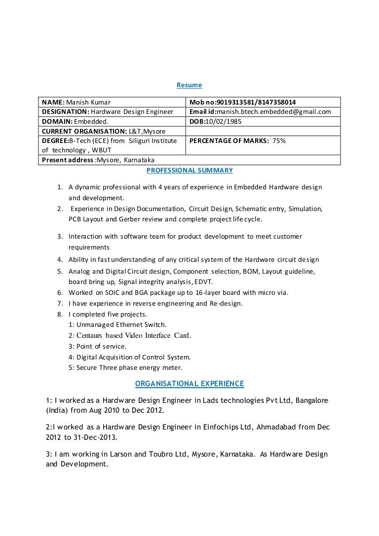 hardware design engineer resumes