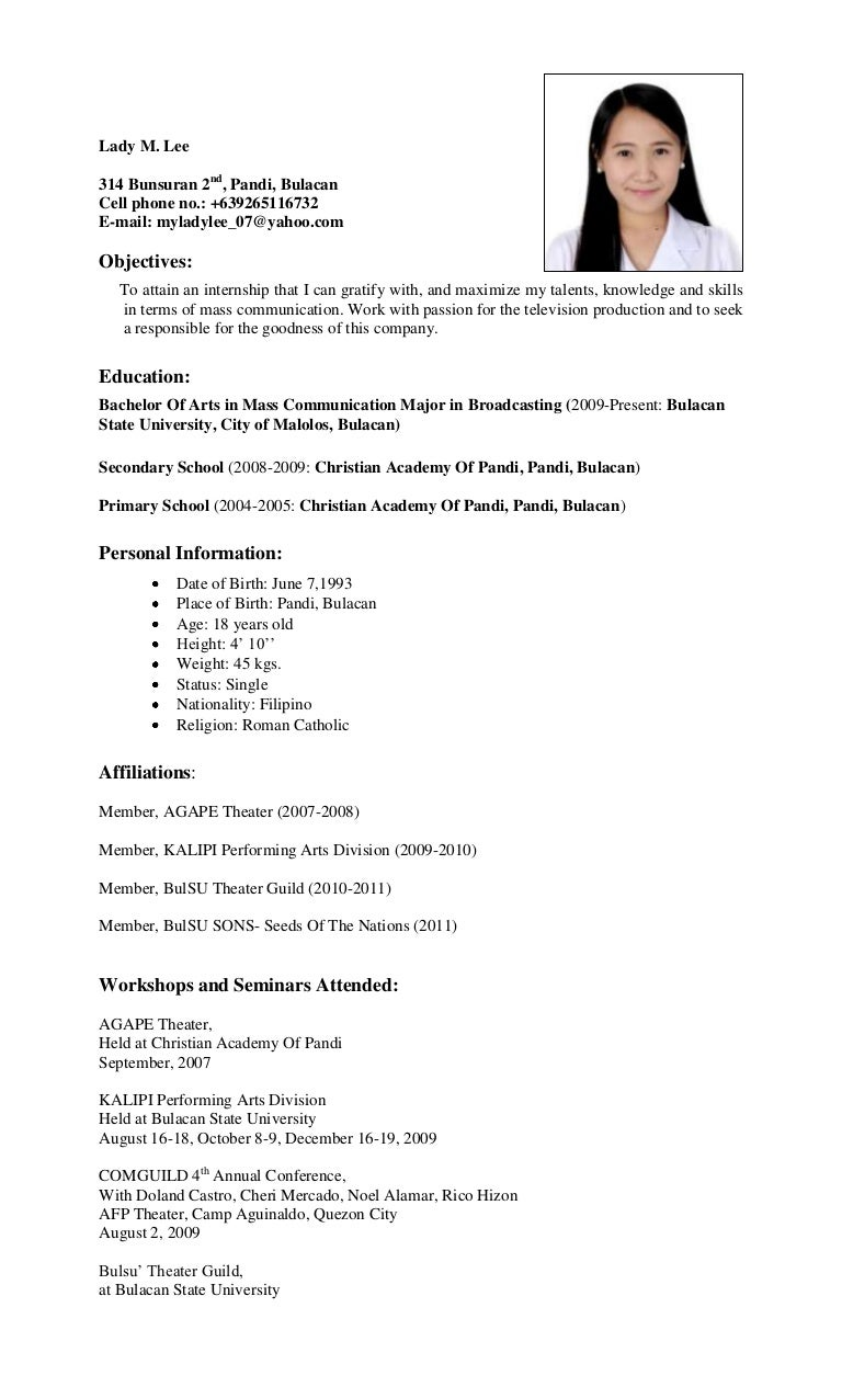Mass Communication Resume Example