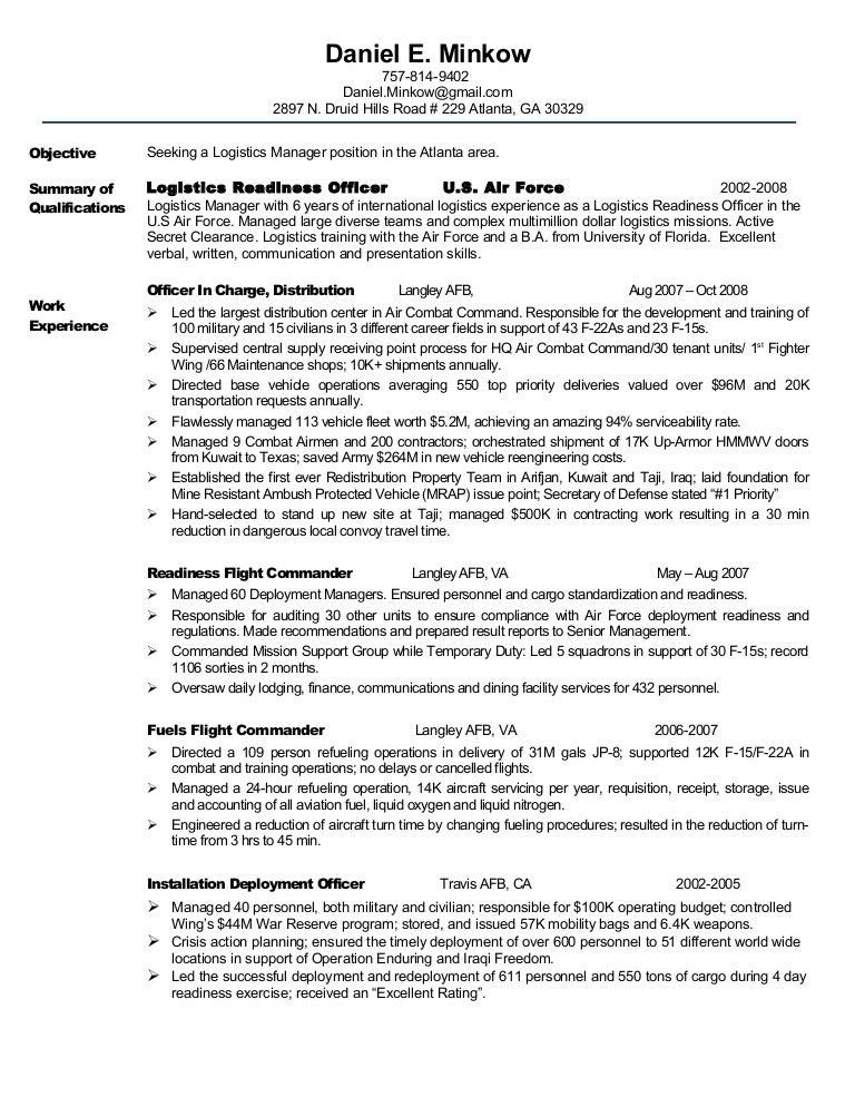 resume minkow chronological logistics readiness officer sample resume - Logistics Resume Objective 2