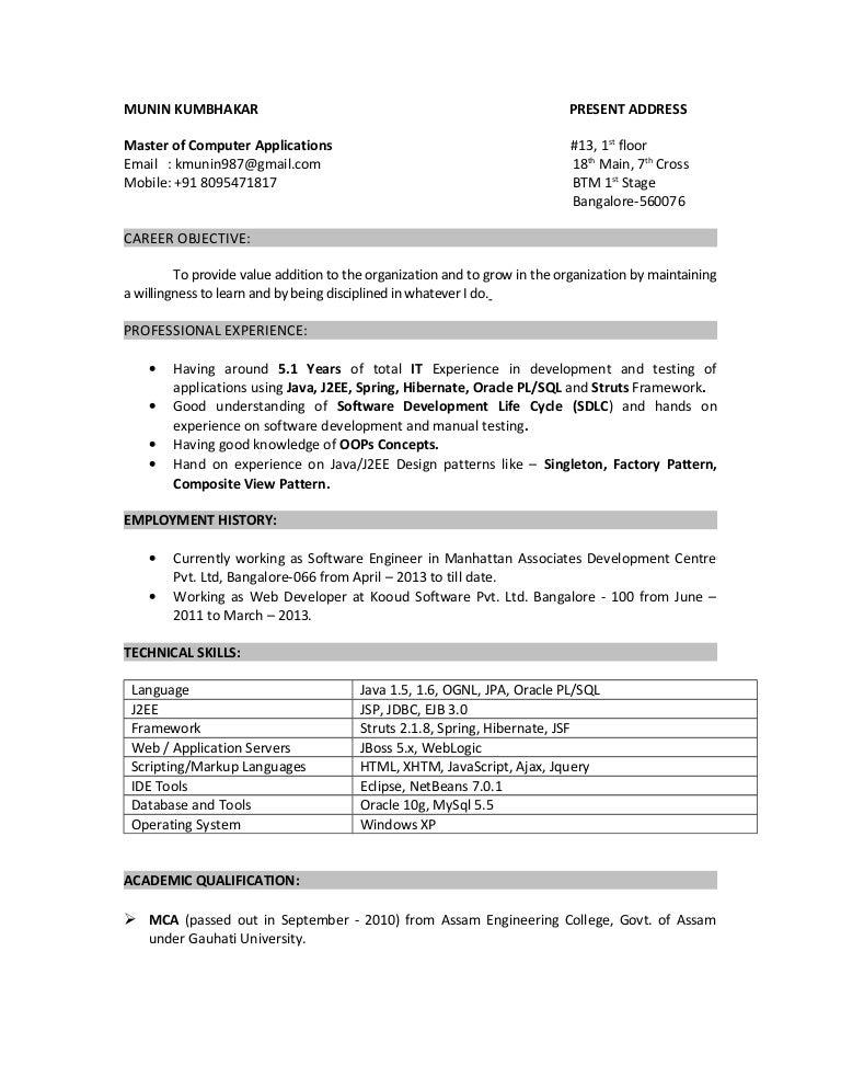resume munin 5yrs java oracle rh slideshare net Java Update Java Games