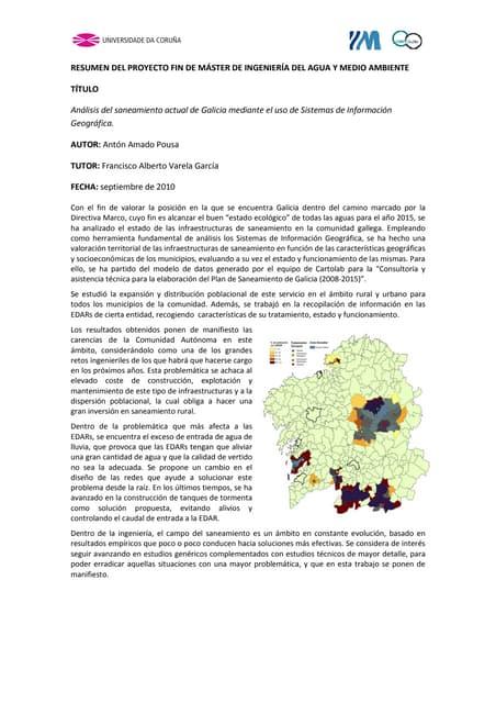 Análisis del saneamiento actual en Galicia mediante SIG