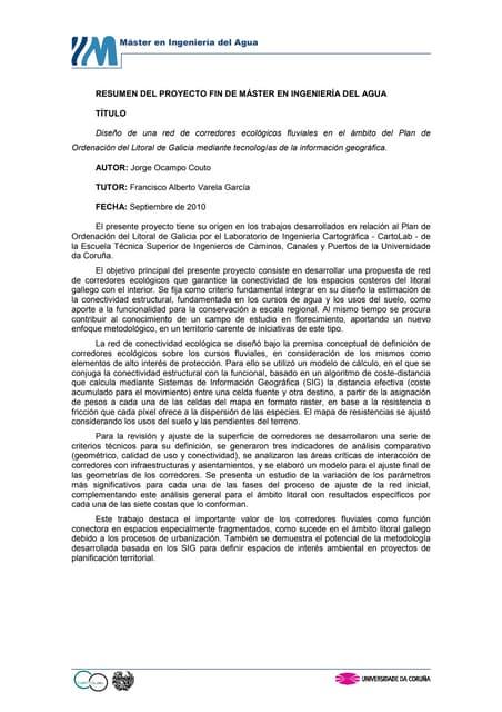 Diseño de una red de corredores ecológicos fluviales en el ámbito del Plan de Ordenación del Litoral de Galicia mediante tecnologías de información geográfica
