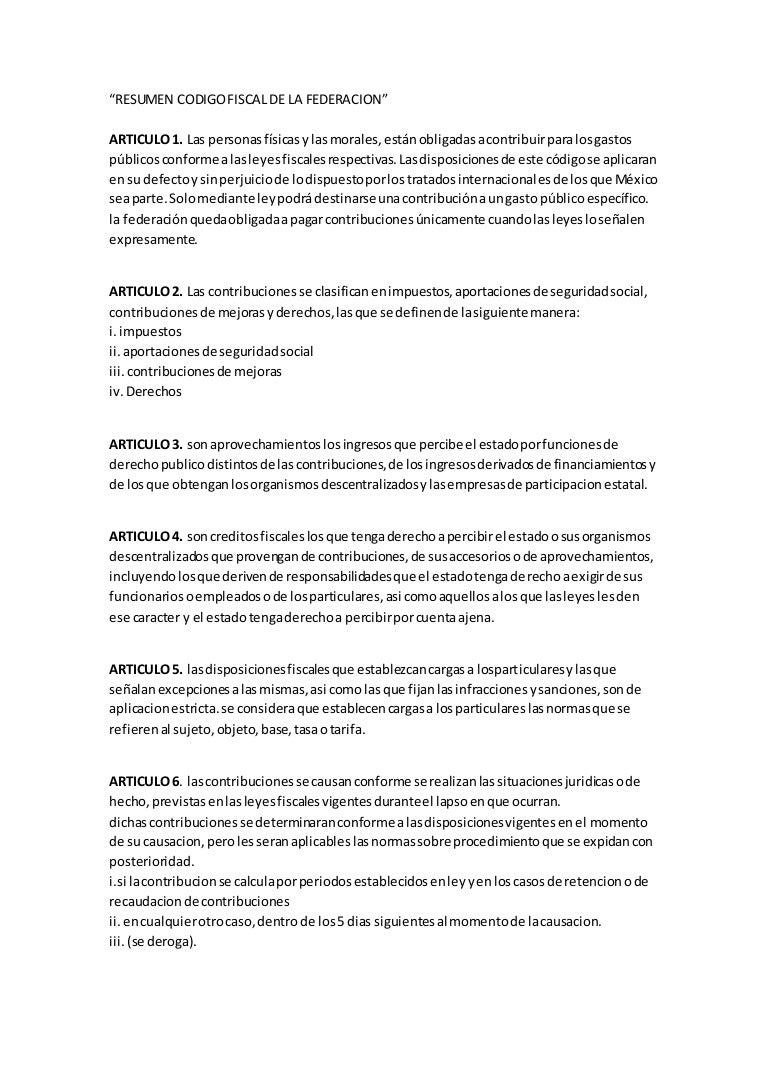 Resumen codigo fiscal de la federacion arts 1 25