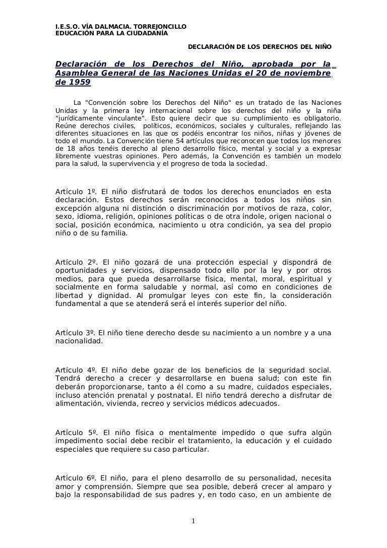 Resumen Declaración de los derechos de los niños