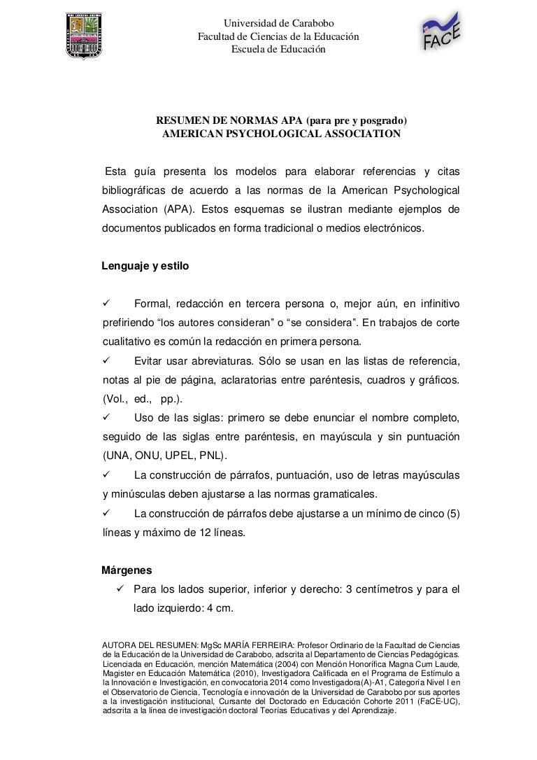 Resumen de las Normas APA FaCE-UC