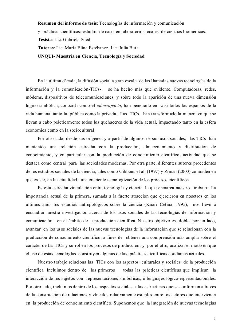 Resumen Del Informe De Tesis