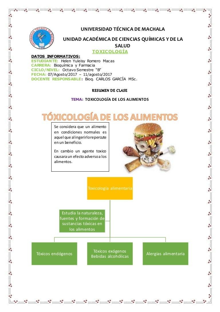 Resumen de toxicologia en alimentos