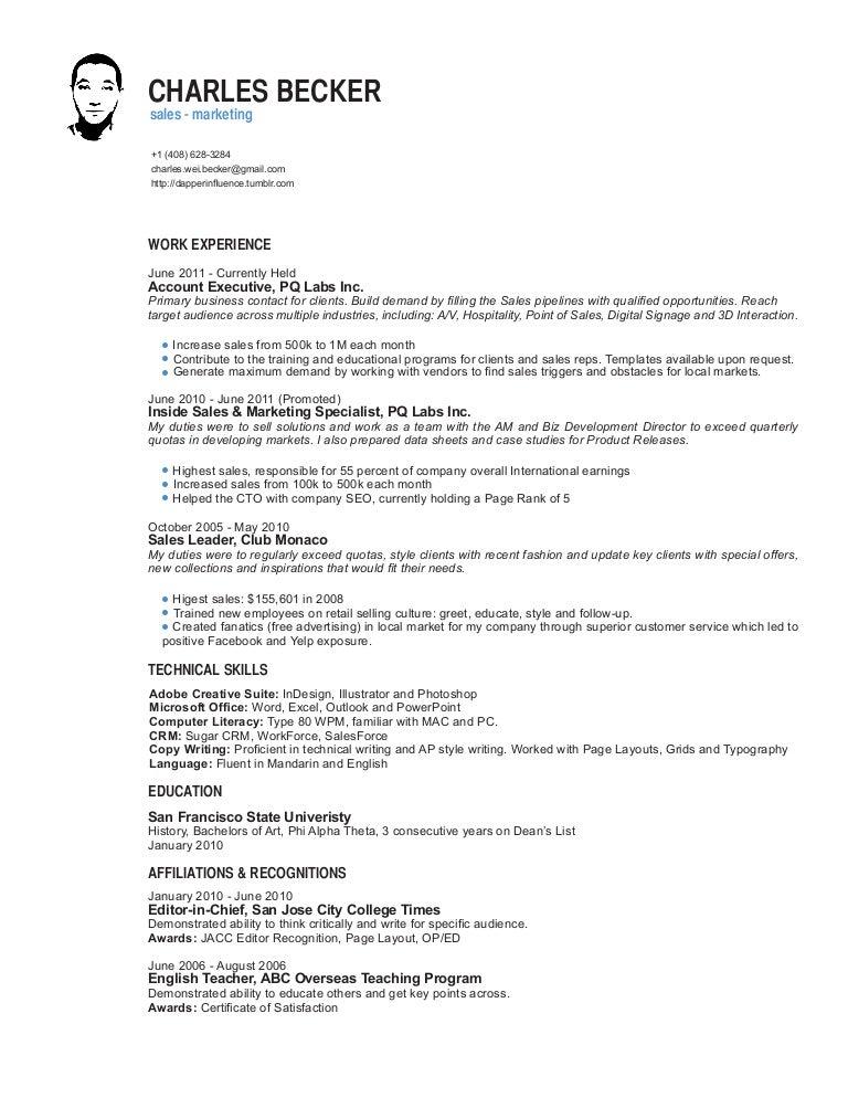 SlideShare  B2b Sales Resume