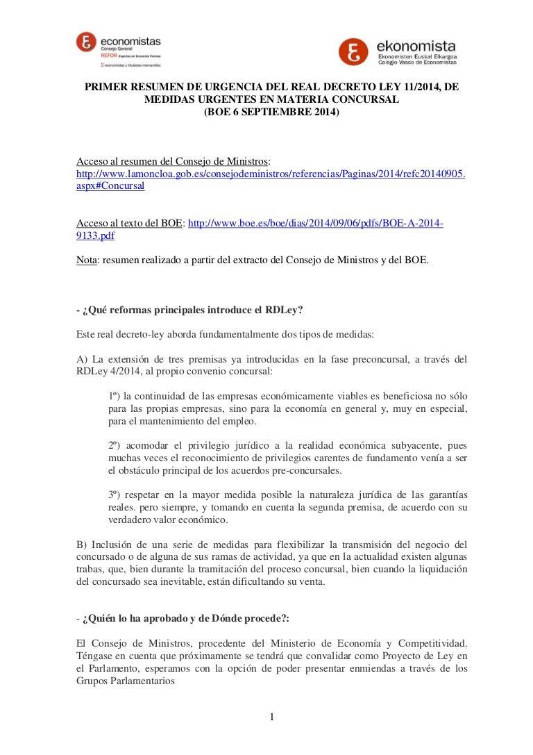RESUMEN DEL REAL DECRETO LEY 11/2014, DE MEDIDAS URGENTES EN MATERIA …