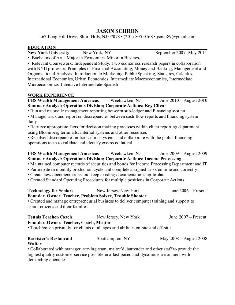 Resume - NYU Graduate (Economics, Business)