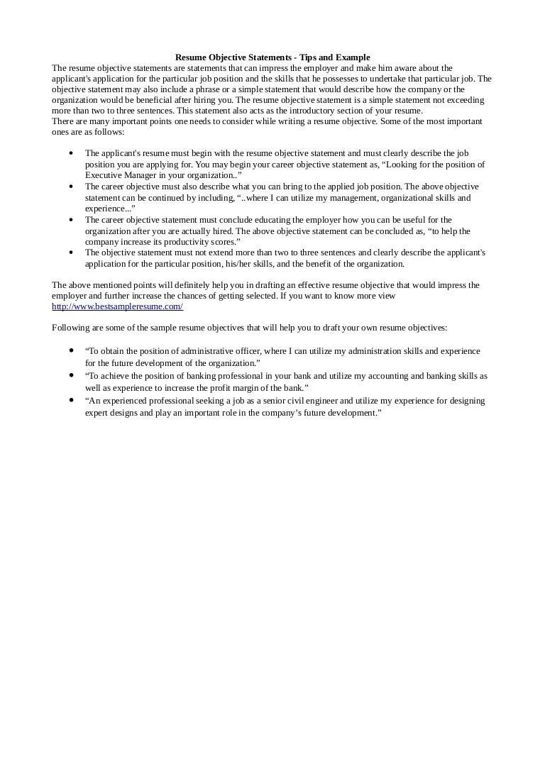 SlideShare  Resume Objective Tips