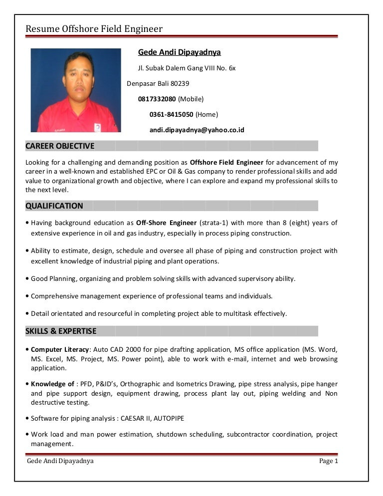 resume offshore field engineer - Field Engineer Sample Resume