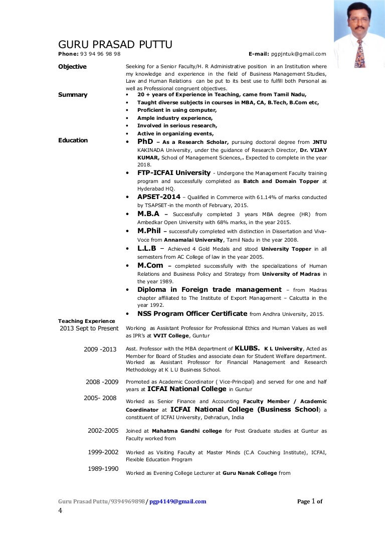 resume of guru prasad puttu