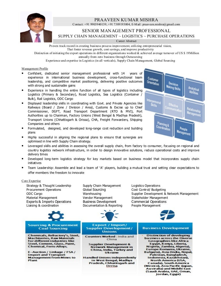Supply Chain Management Resume Sample India Image Gallery  Hcpr