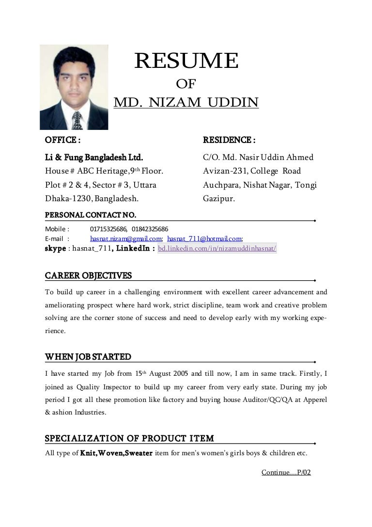 resume of nizam uddin hasnat