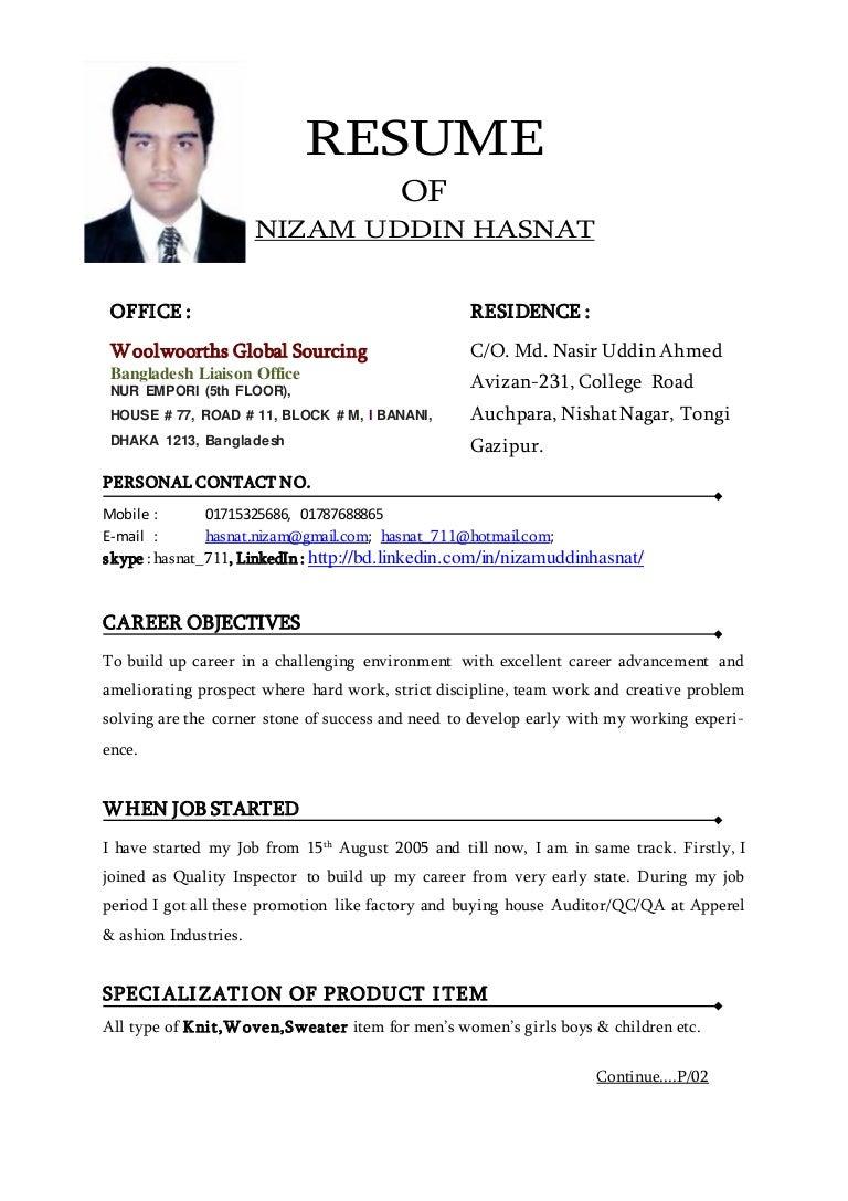 Resume of nizam uddin hasnat !!