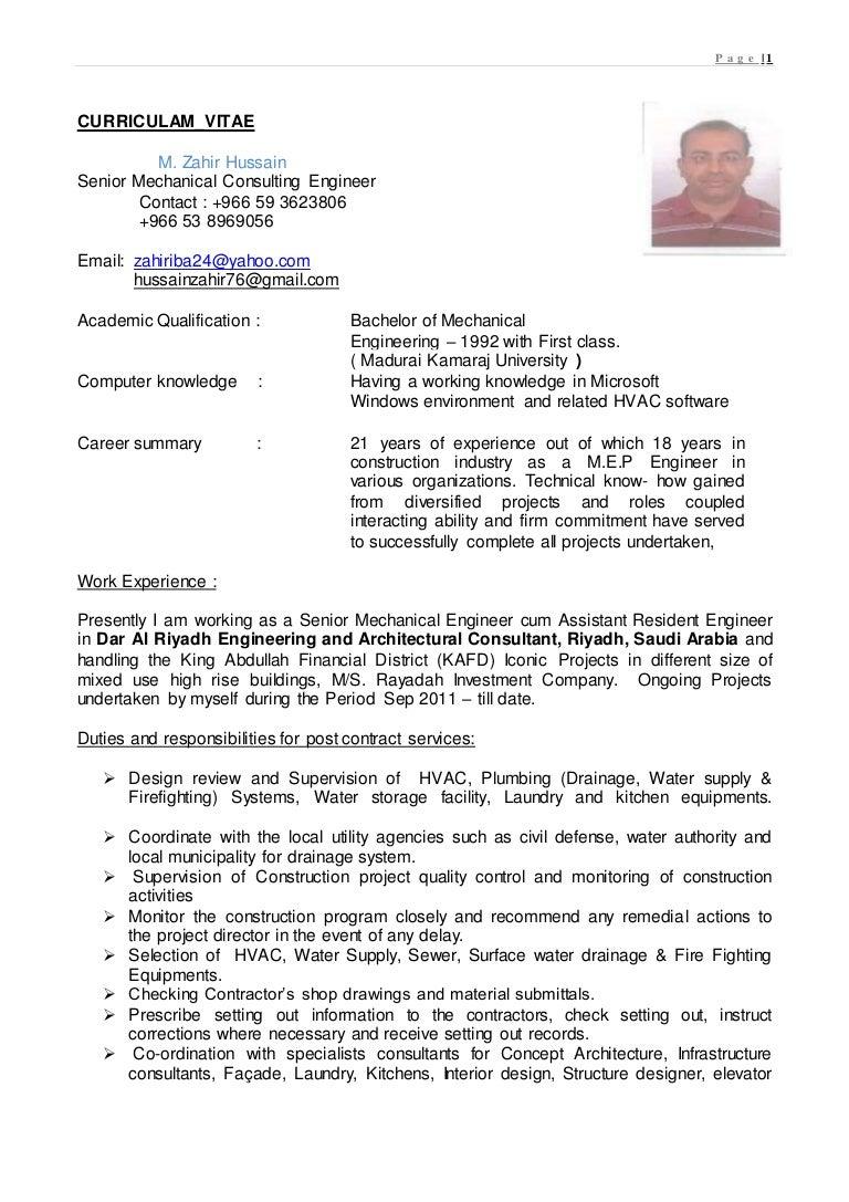 Resume of zahir hussain