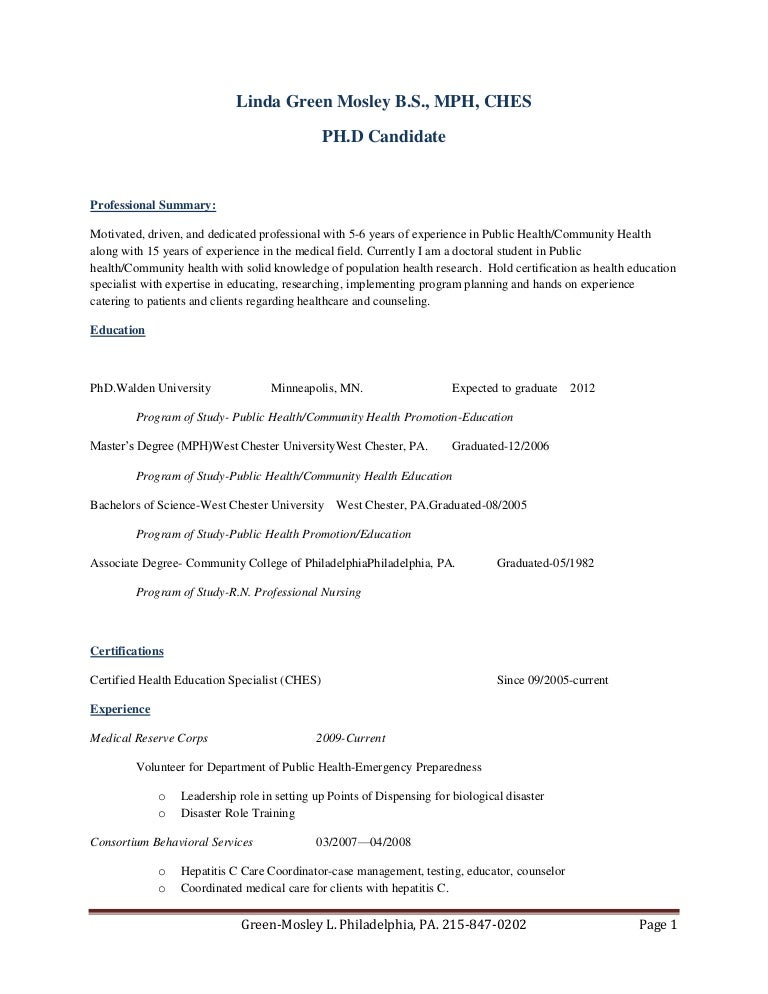Resume Professionally Updated 2011 Without Address