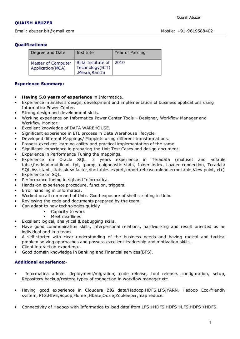 sample audit resume etl informatica resume by resume quaish abuzer -  Informatica Sample Resume