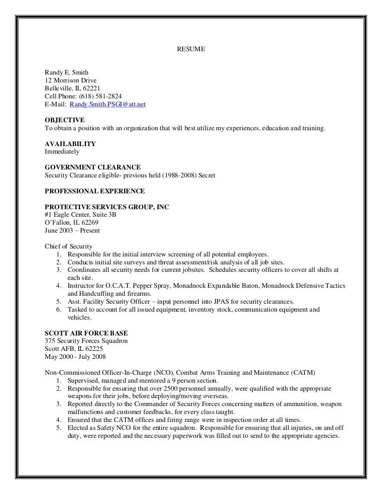 chief of securitys resume