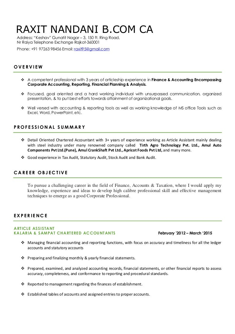 resume for chartered accountant sample resume for chartered