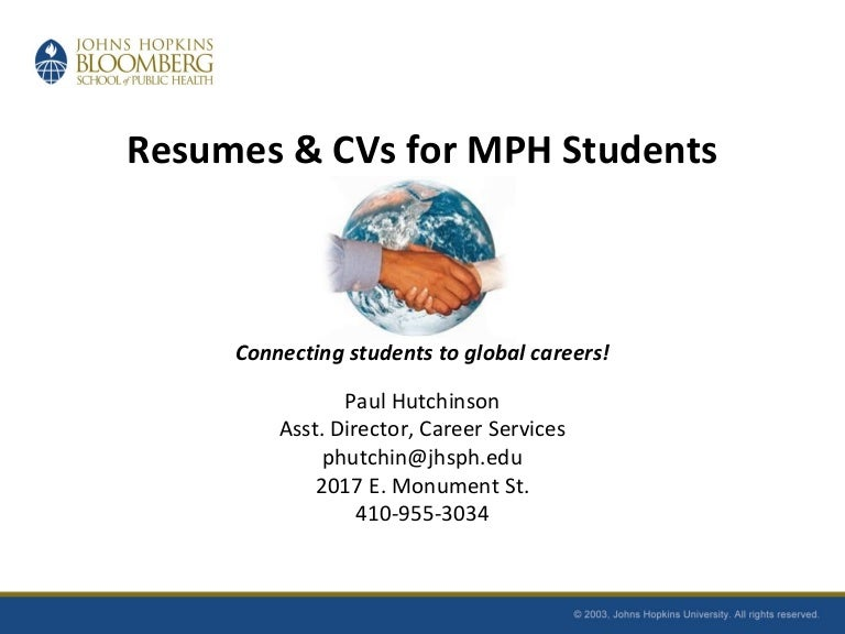 Resumes And Cvs For Mph Students Fall