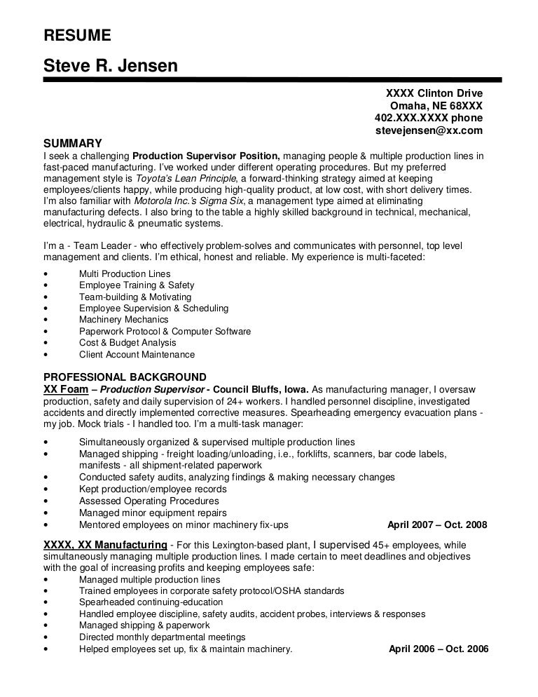 resume sample 3 - Manufacturing Supervisor Resume