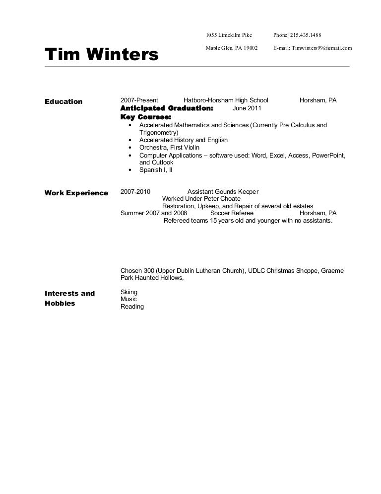 resume expected graduation format